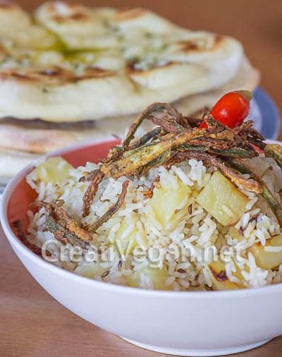 Bariis iyo Bataato (pilaf de arroz con patatas y comino)