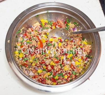Relleno de soja texturizada con hortalizas para fatayer vegetal