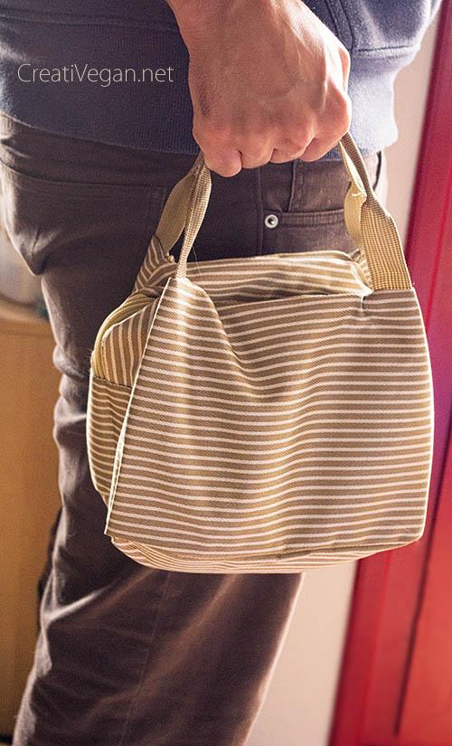 Bolsa de refrigeración para comida, con rayas marrones - CreatiVegan.net