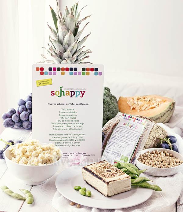 Productos Sojhappy: okara de soja, tofu a la plancha y chocotofu