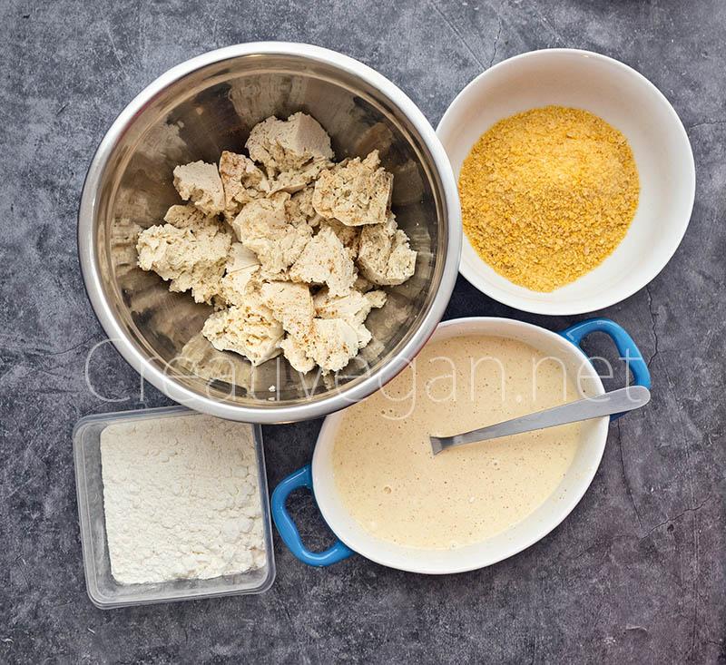 Preparación de nuggets de tofu - CreatiVegan.net