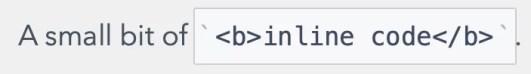 Inline Code in Markdown