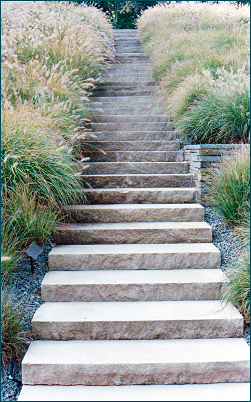 Wiarton Brown Sandblasted limestone steps @ Creative