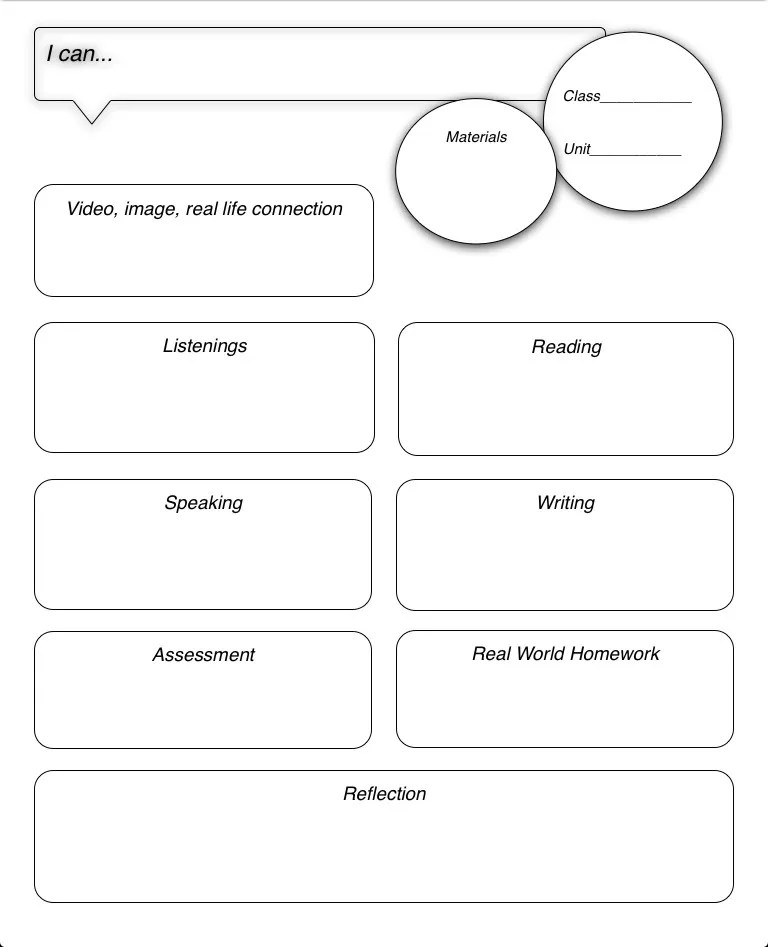 template of lesson plan
