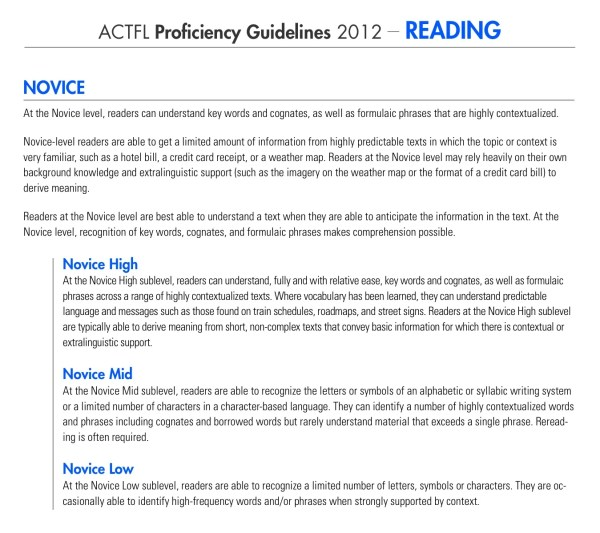 ACTFL Reading Novice