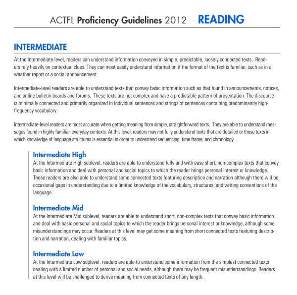 ACTFL Interpretive Reading