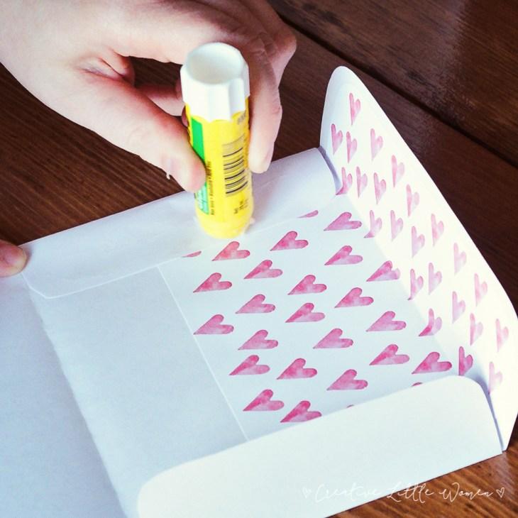 printable valentine card plus envelope liner