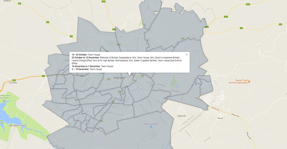 This Map lets you locate the nearest Voter Registration Centre in Harare