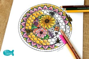 Free mandala coloring page filled with honey bees and flowers.