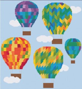 Temperature Hot Air Balloons Cross Stitch