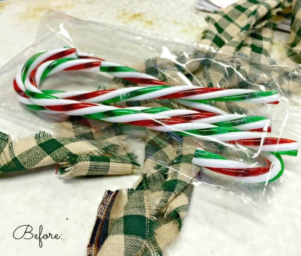 DIY Homespun Candy Canes for the Holiday! Easy to make!!! Just wrap some cheap Dollar Store canes!! #holidaydecor #christmas #Diyholidaydecor #diy #holidaycheer