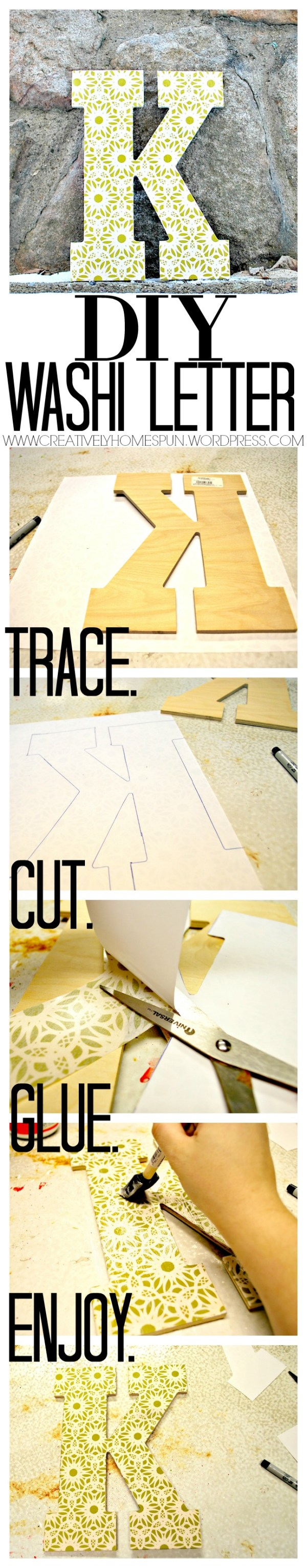 DIY Washi Letter #easycraft #kitchendecor #diydecor #green #washi