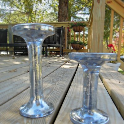 DIY mercury glass candlesticks