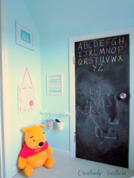 closet reading nook chalkboard