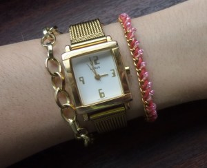 {handmade golden bracelet with coloured thread and seed beads}