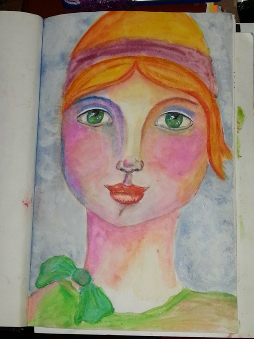 Whimsy girl in watercolor