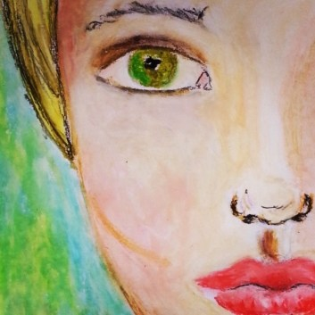 face in oil pastels - @creativemag.ro by Cristina Parus