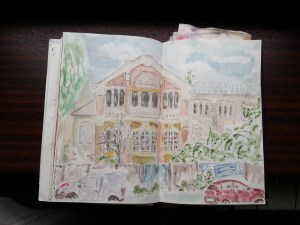 Uniza Electrică Filaret - watercolor sketch by Cristina Parus @ creativemag.ro