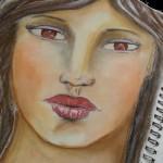 Portret semi-realist in pastel cretat