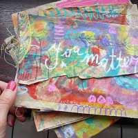 Brown paper bag April Community Thrive Art journaling challenge {video}