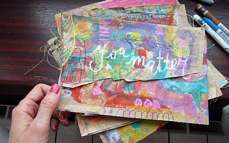 Brown paper bag April Community Thrive Art journaling challenge