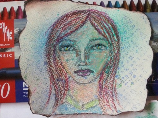 Tiny little collaged face art journal page by Cristina Parus @ creativemag.ro