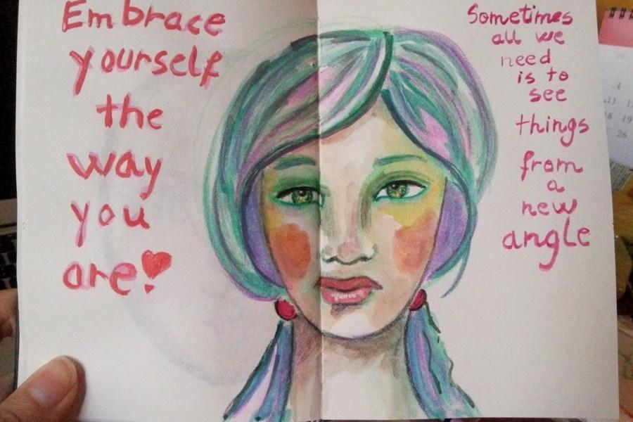 Embrace Yourself watercolor portrait by Cristina Parus @ creatovemag.ro