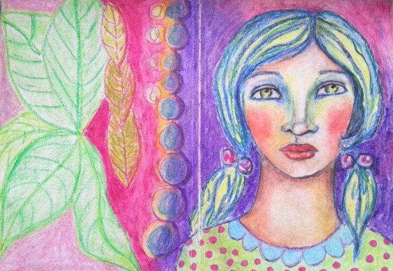Portraits in oil pastels - art journal oil pastels whimsical face by Cristina Parus @ creativemag.ro