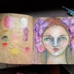 Brown paper art journal face