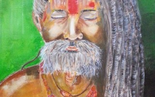 Sadhus Holly man - Acrylic on canvas by Cristina Parus @ creativemag.ro