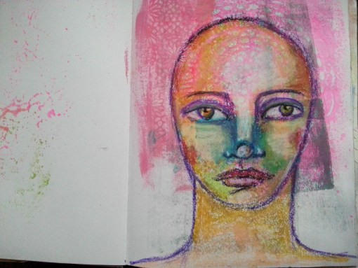 Drawing with Oil Pastels - Art journal page by Cristina Parus @ creativemag.ro