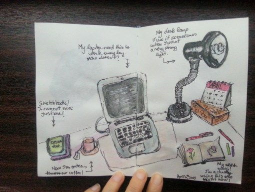 One sketch a day - what's on my desk - by Cristina Parus @ creativemag.ro