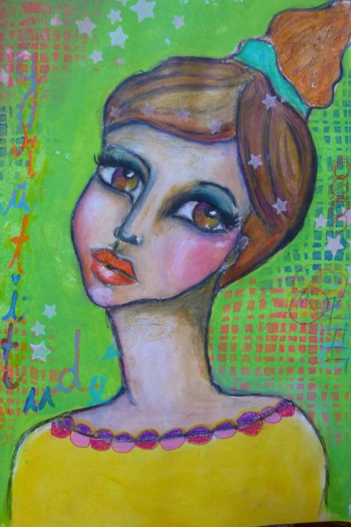 """In the mirror"" mixed media girl by Cristina Parus @ creativemag.ro"