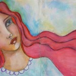 Mixed media redhead beauty