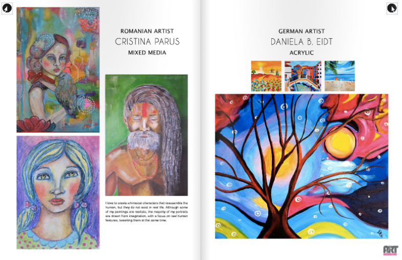 Romanian Artist Cristina Parus published in Women Art 278 magazine at page 14
