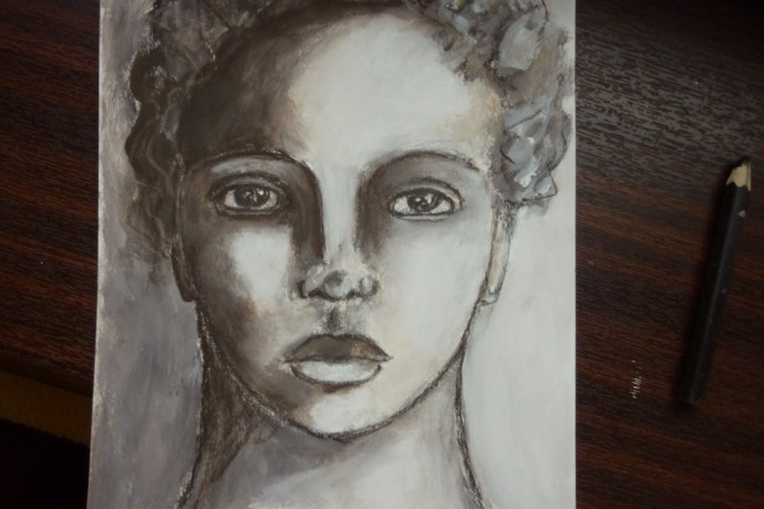 Charcoal, sepia, mixed media portrait by Cristina Parus @ creativemag.ro