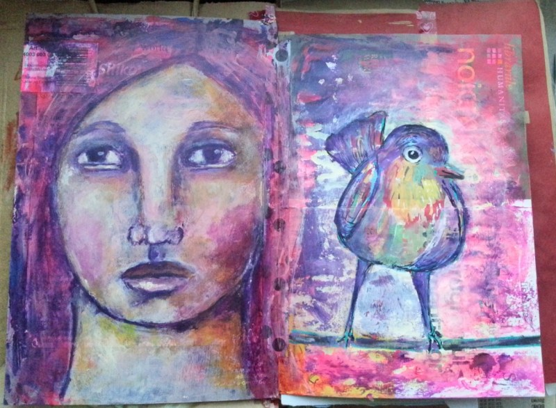 The junk journal project: diving intuition art journal page by Cristina Parus @ creativemag.ro