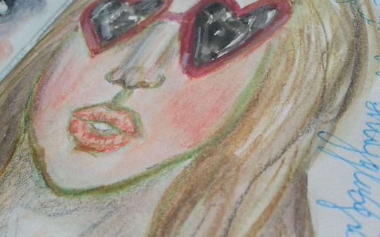Heart sunglasses watercolor face by Cristina Parus @ creativemag.ro