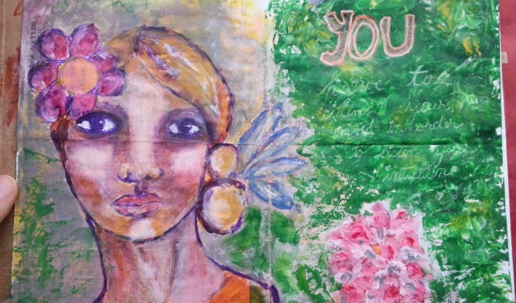 The junk journal project - leaflet painting over by Cristina Parus @ creativemag.ro