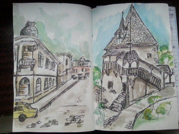 Sketching buildings in watercolor - by Cristina Parus @ creativemag.ro