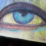 What are the eyes for you – mixed media journal page