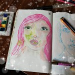 Whimsical face with pink hair
