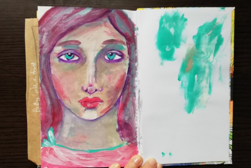 Acrylic painting - girl with turquoise eyes - @ creativemag.ro by Cristina Parus