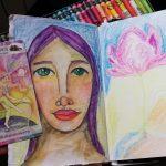 20 minutes art journaling – Girl with Lotus Flower