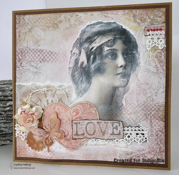 Indigoblu february challenge blog DT piece, Claire Newcombe