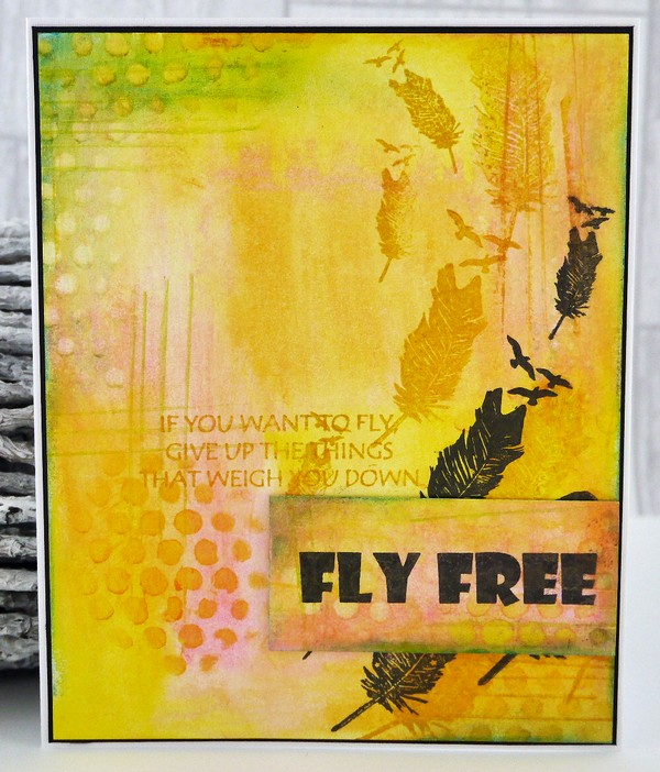 Imagine Design Create NEW STAMP BRAND, Fly Free with Gelato background