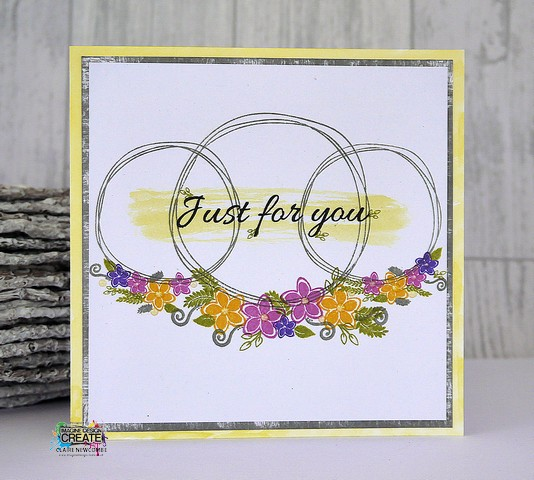 Floral stamp designs to create a garland in cardmaking