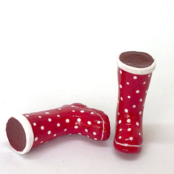 Dollhouse Miniature Ladies Gumboots Red