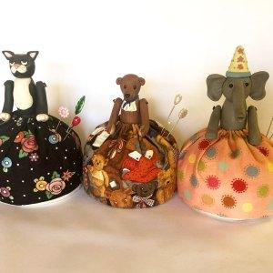Animal Pin Cushions Hand Made by Megan Wallace Cat Elephant Teddy Bear