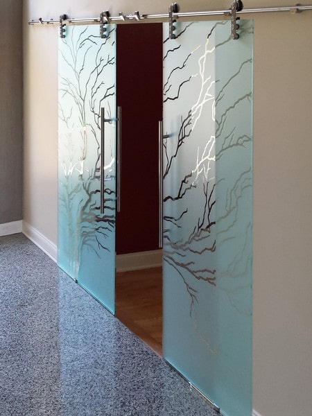 Etched Sliding Glass Doors Amp Dividers Creative Mirror